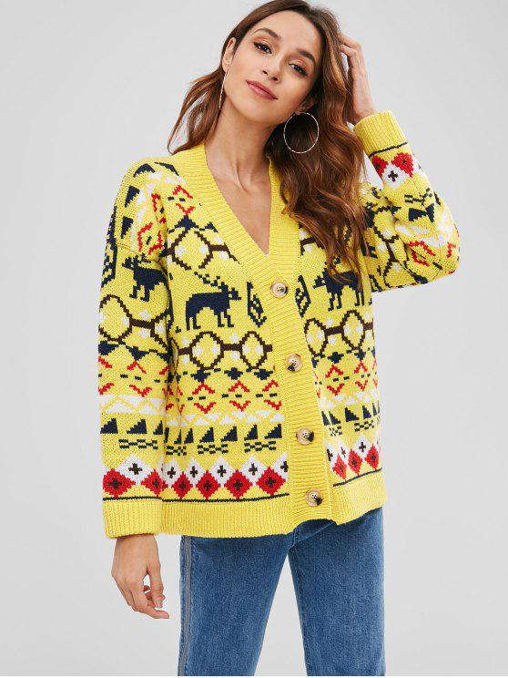 ladies Deer Christmas Boyfriend Cardigan - YELLOW ONE SIZE