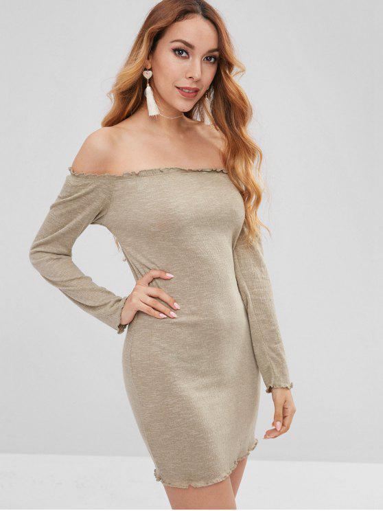 shop Lettuce Bodycon Off The Shoulder Dress - SAGE GREEN L
