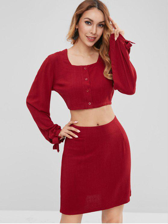 shop ZAFUL Buttoned Crop Top and Skirt Set - RED WINE M