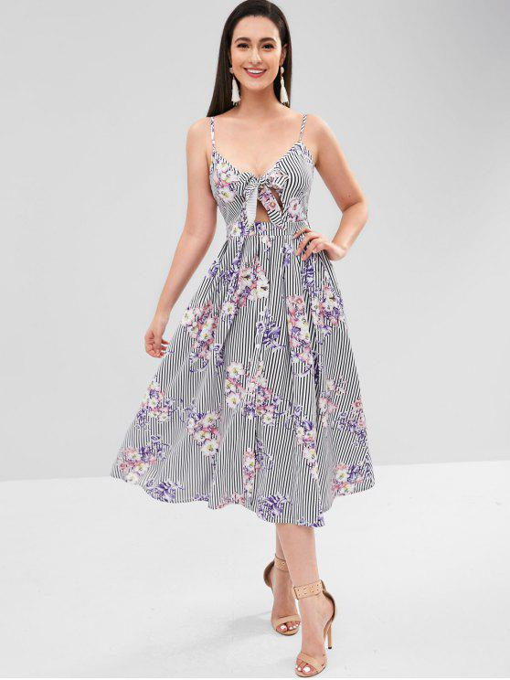 outfit ZAFUL Tie Front Button Up Floral Cami Dress - MULTI S