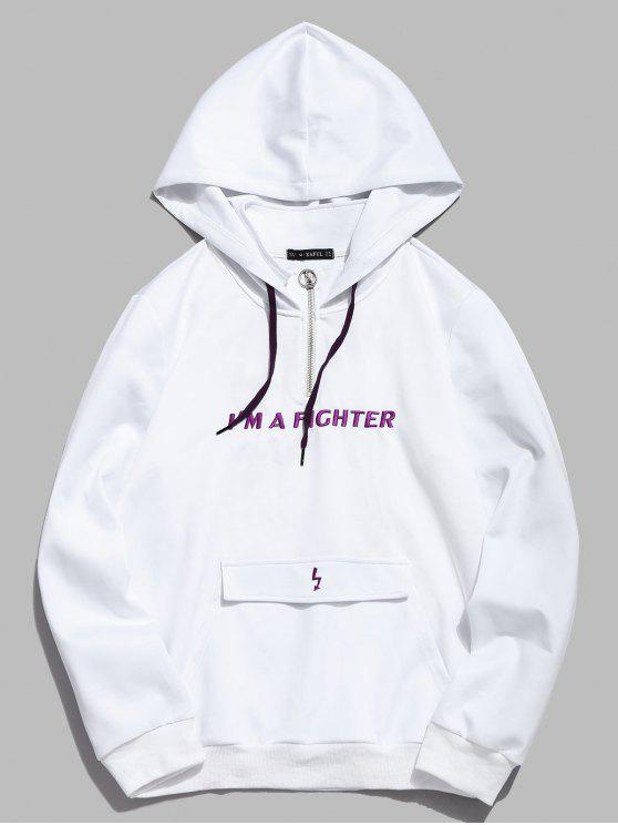 sale ZAFUL Embroidered Letter Pocket Hoodie - WHITE XL