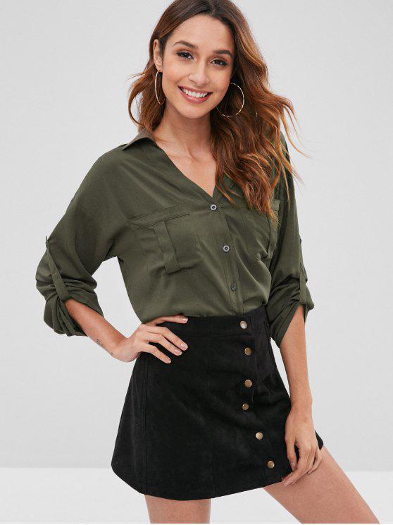 ZAFUL مرقع جيوب زر حتى القميص - التمويه الأخضر S