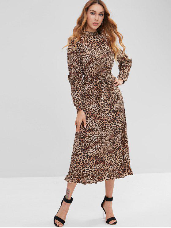 ZAFUL Leopard Belted Maxi Dress - Leopardo L