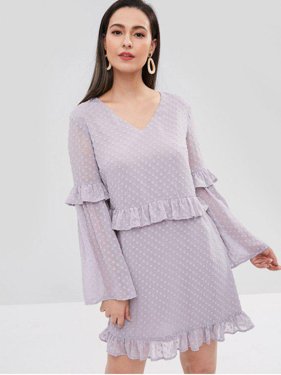 unique ZAFUL V Neck Flare Sleeve Ruffled Dress - WISTERIA PURPLE L