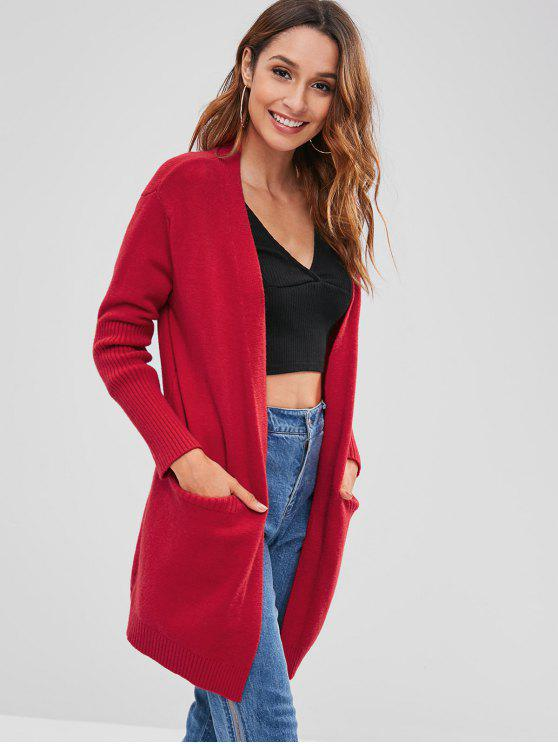shop Loose Solid Color Cardigan - RED ONE SIZE