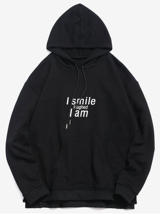 affordable ZAFUL Split Hem Letter Pocket Hoodie - BLACK 2XL