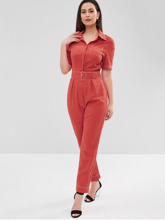 fe511e9c75ab 33% OFF  2019 ZAFUL Half Button Striped Belted Jumpsuit In FIRE ...