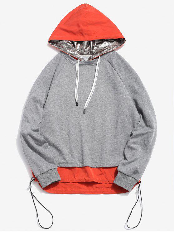 lady ZAFUL Patchwork Color Block Hoodie - SMOKEY GRAY XL
