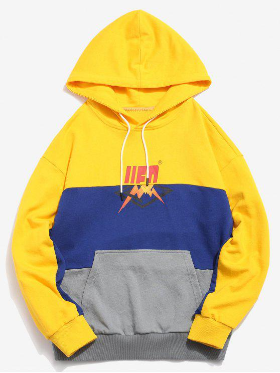 best ZAFUL Layered Contrast Patchwork Graphic Hoodie - YELLOW XL