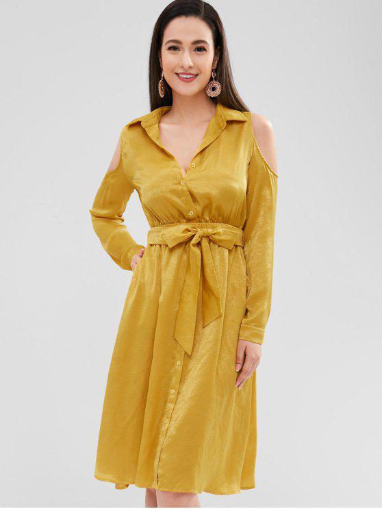 women's ZAFUL Cold Shoulder Belted Button Up Shirt Dress - GOLDEN BROWN M