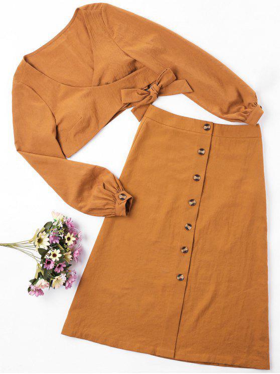 shop ZAFUL Wrap Top and Button Up Skirt Set - LIGHT BROWN L