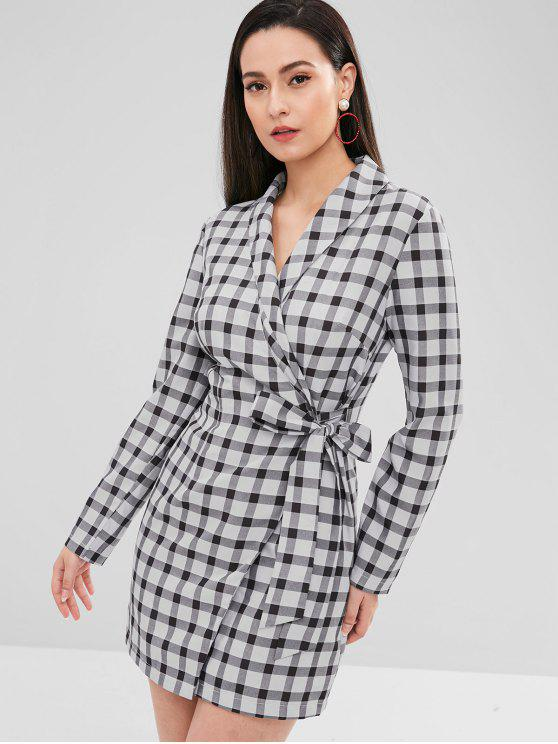 women's ZAFUL Long Sleeve Plaid Wrap Dress - MULTI M