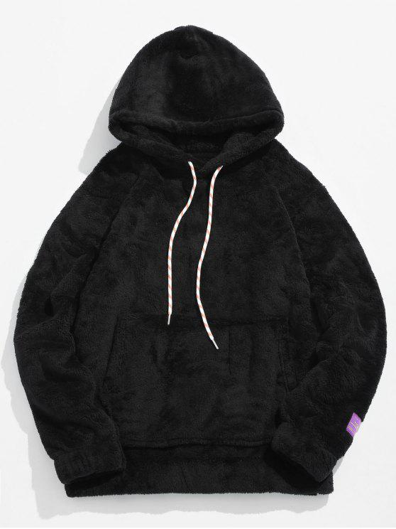 trendy Solid Pouch Pocket Fluffy Hoodie - BLACK XL