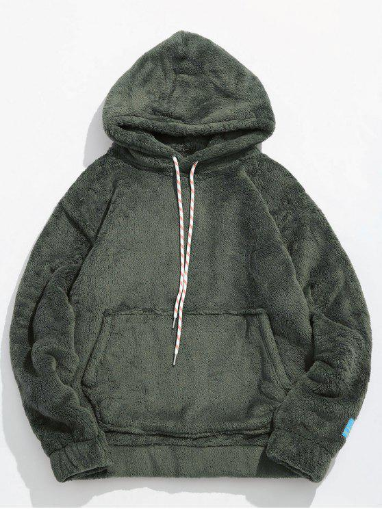 chic Solid Pouch Pocket Fluffy Hoodie - ARMY GREEN XS