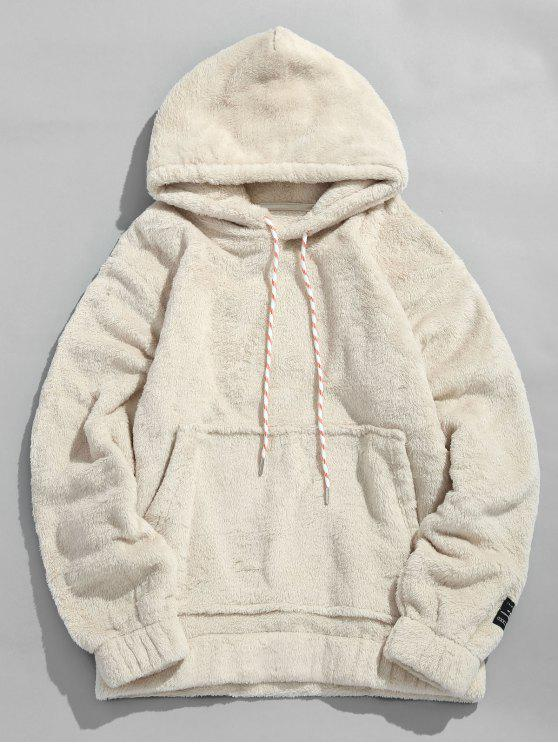 women Solid Pouch Pocket Fluffy Hoodie - WARM WHITE XL