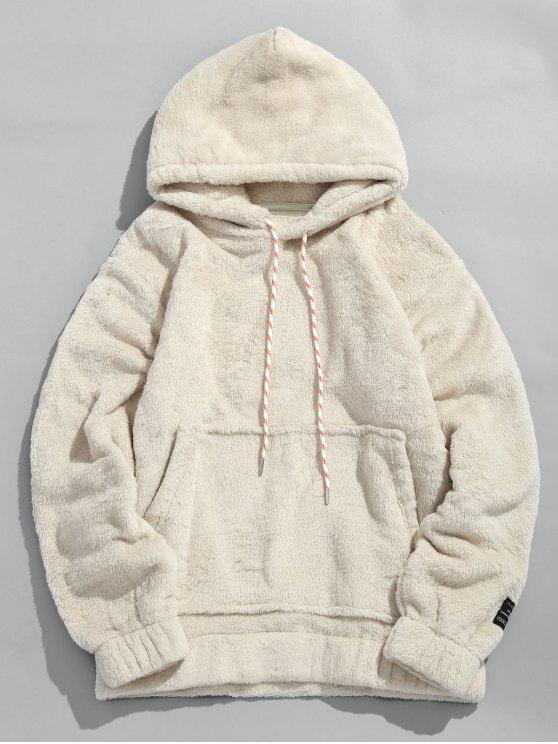 fashion Solid Pouch Pocket Fluffy Hoodie - WARM WHITE 2XL