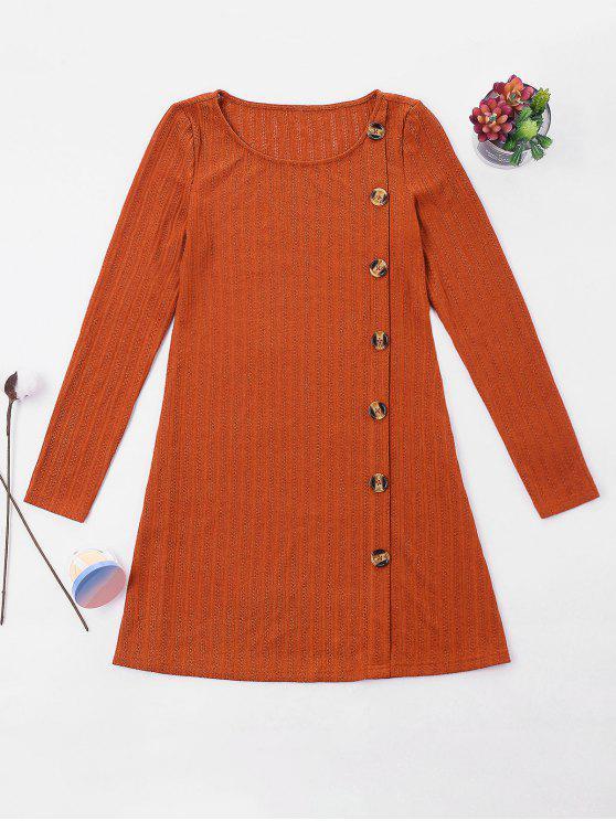 lady ZAFUL Buttons Embellished Long Sleeve Dress - BRIGHT ORANGE XL