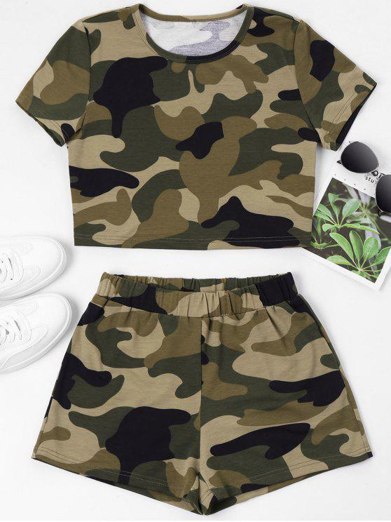 ladies ZAFUL Camouflage Crop Tee and Shorts Set - CAMOUFLAGE GREEN S
