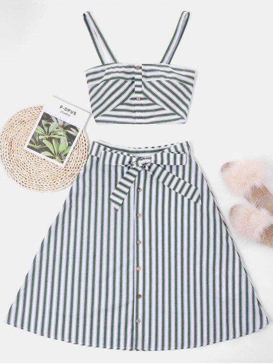 fashion ZAFUL Striped Top and Belted Skirt Set - WHITE S