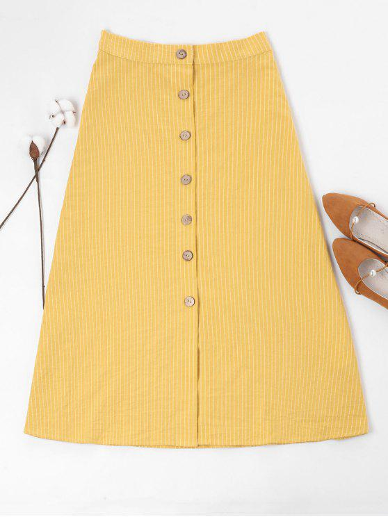 unique ZAFUL Button Up Striped Maxi Skirt - MUSTARD XL