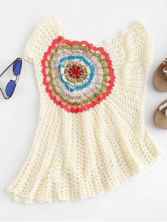 ladies Crochet Tank Cover Up - WARM WHITE ONE SIZE