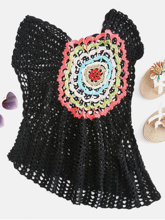 lady Crochet Asymmetric Cover Up - BLACK ONE SIZE
