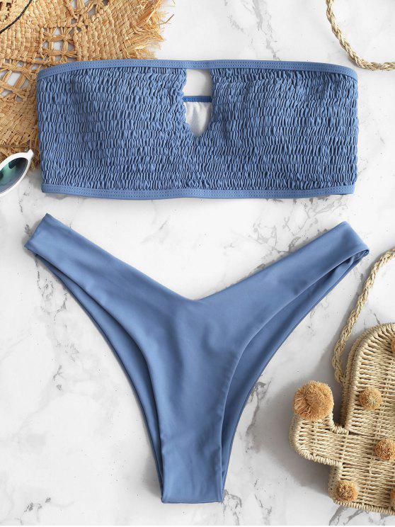 ZAFUL Ensemble de Bikini Bandeau à Trou de Serrure - Ardoise bleue L