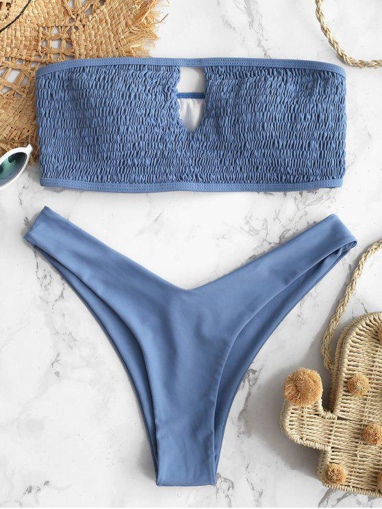 ZAFUL Smocked- Bandeau -Schlüsselloch -Bikini -Set - Schiefer Blau M