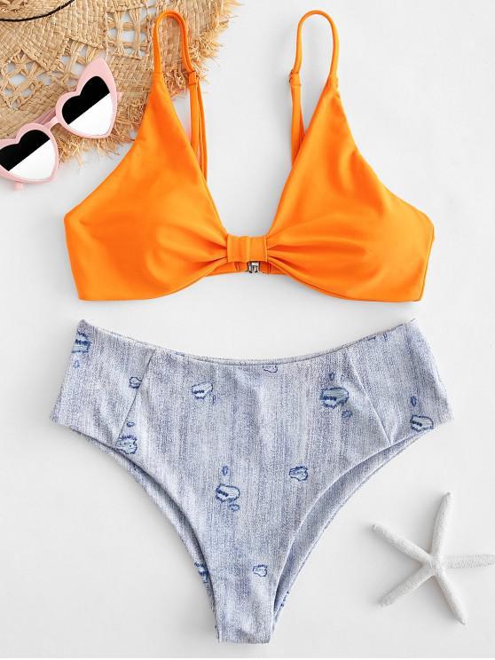 ZAFUL Ensemble de Bikini Imprimé à Coupe Haute en Denim - Orange S