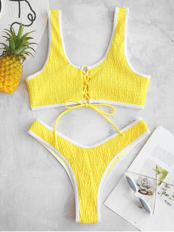new ZAFUL Smocked Lace Up Bralette Bikini Set - RUBBER DUCKY YELLOW S