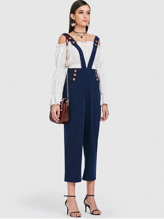 affordable ZAFUL High Waisted Suspender Pants - DEEP BLUE S
