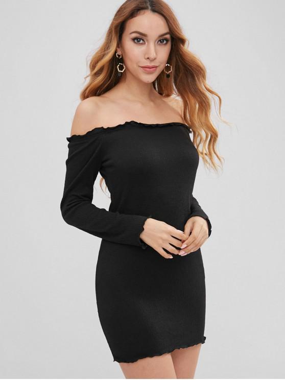 trendy Lettuce Bodycon Off The Shoulder Dress - BLACK M