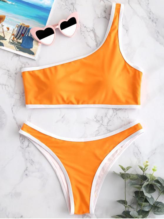 lady ZAFUL Contrast Trim One Shoulder Bikini Set - HALLOWEEN ORANGE S