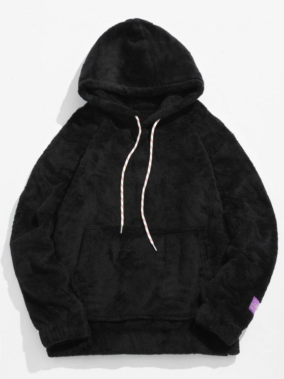 outfit Solid Pouch Pocket Fluffy Hoodie - BLACK XS