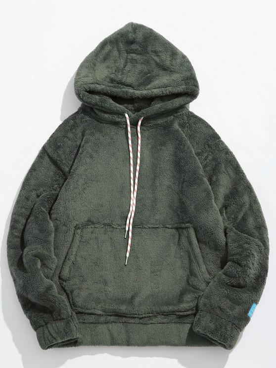 online Solid Pouch Pocket Fluffy Hoodie - ARMY GREEN XL