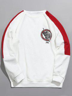 Tiger Print Sleeve Striped Sweatshirt - White Xl