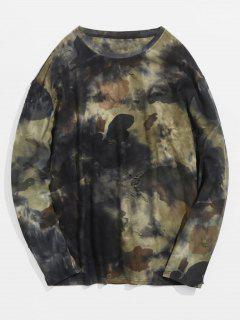 Camiseta Camuflaje Elástica Ripeado Con Letra Estampada  - Ejercito Verde L