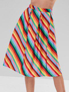 A Line Rainbow Striped Skirt - Multi M
