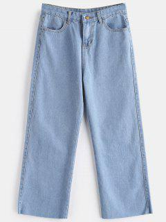 Zipper Wide Leg Jeans - Jeans Blue L