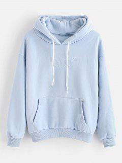 Fleece Lining Letter Embroidered Hoodie - Pastel Blue