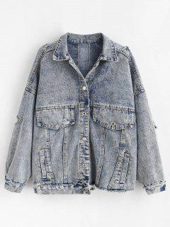 Snow Wash Distressed Denim Jacket - Jeans Blue L