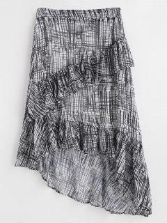 Asymmetric Tiered Ruffles Maxi Skirt - Black S