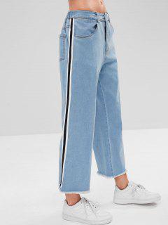 ZAFUL Side Stripes Frayed Hem Jeans - Denim Blue M