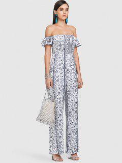 ZAFUL Off Shoulder Paisley Wide Leg Jumpsuit - Multi L