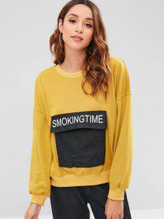 Drop Shoulder Oversize Sweatshirt With Pockets - Goldenrod