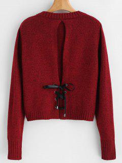 Solid Color Back Lace Up Sweater - Red Wine