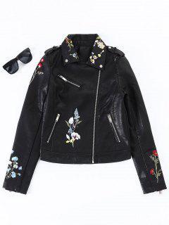 Floral Embroidered Faux Leather Biker Jacket - Black Xl