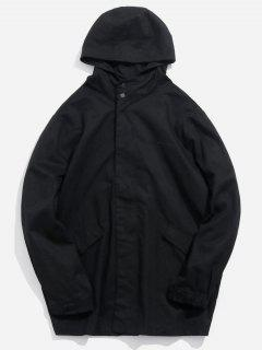 Button Pocket Zip Up Hooded Coat - Black Xl