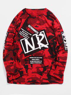 Streetwear Letter Print Camo T-shirt - Red Xs