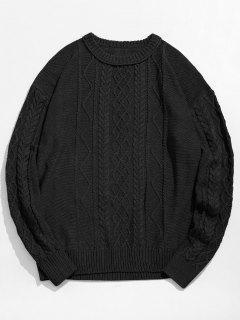 Vintage Pattern Knit Sweater - Black L